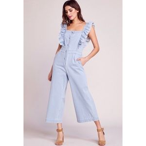 JACK BY BB DAKOTA YES WAY DENIM RUFFLE JUMPSUIT SM
